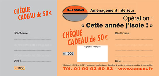 isolation soufflee - cheque cadeaux socas